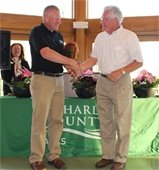 The winner of the Outstanding Senior Award was presented to Craig Morton (right) by St. Charles County Parks Horticulture Specialist Joe Mikecin (left). Morton donated more than 200 hours of his time and talent to the St. Charles County Parks and Recreation Department.