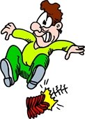 Cartoon graphic of a man scared by firecrackers