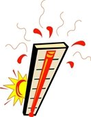 Cartoon graphic of a thermometer overheating in the sun
