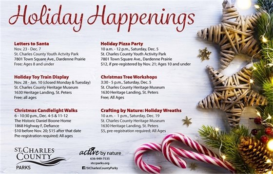 Our 2020 list of St. Charles County Parks Holiday Happenings is available!