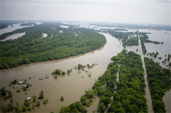 Aerial of flooding in St. Charles County