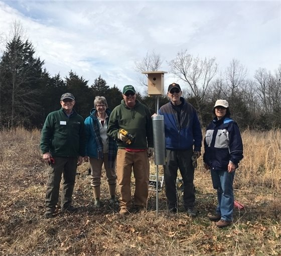 Missouri Master Naturalists, Confluence Chapter members install Bluebird Boxes at Towne Park.