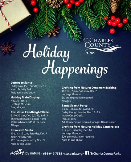 Enjoy Holiday Happenings with St. Charles County Parks.