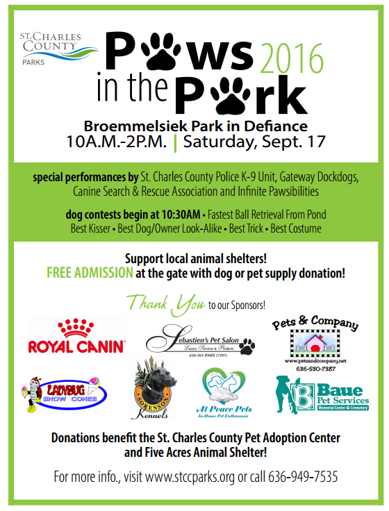 Paws in the Park 2016 flyer