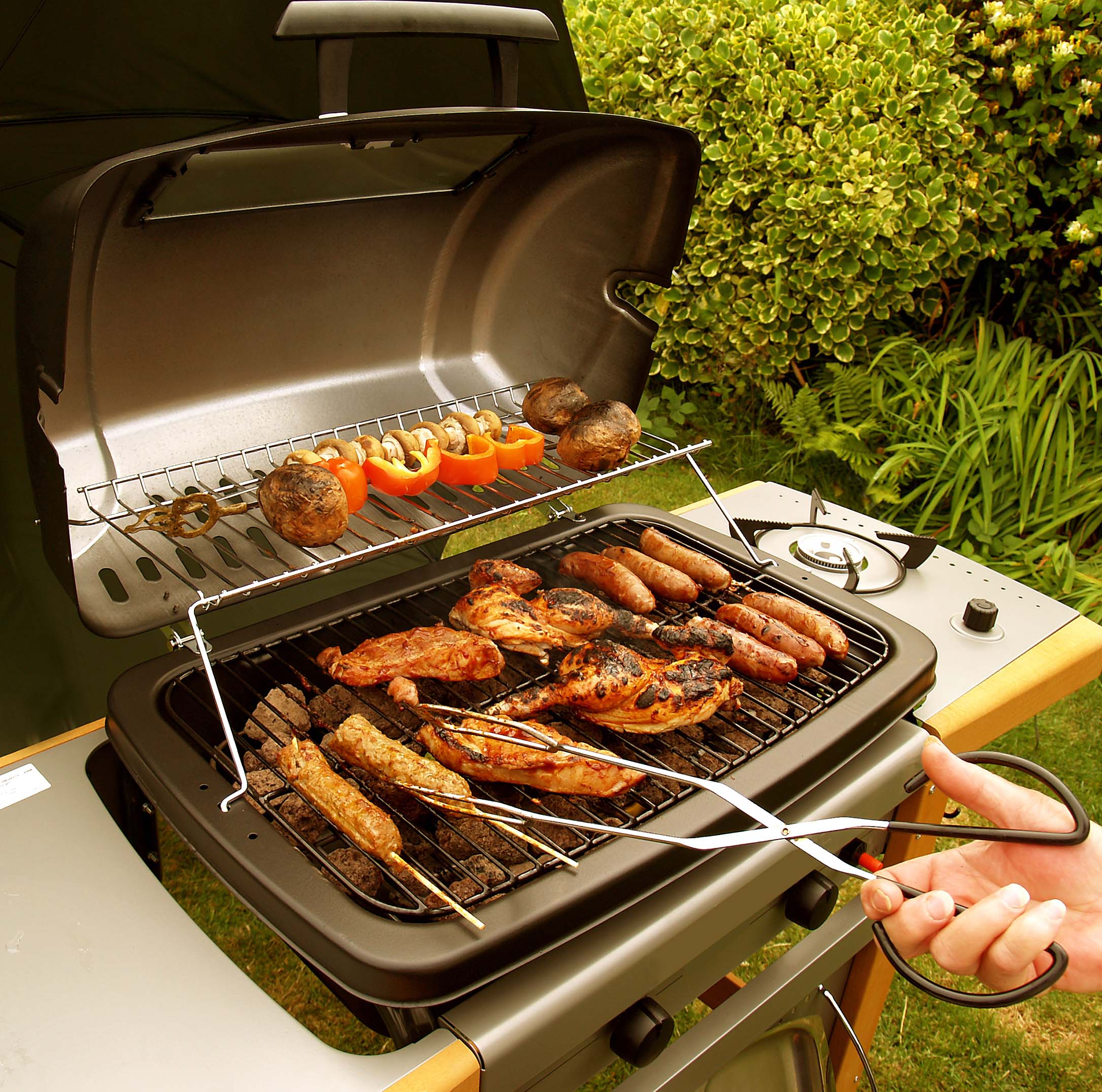 barbecue grill with food