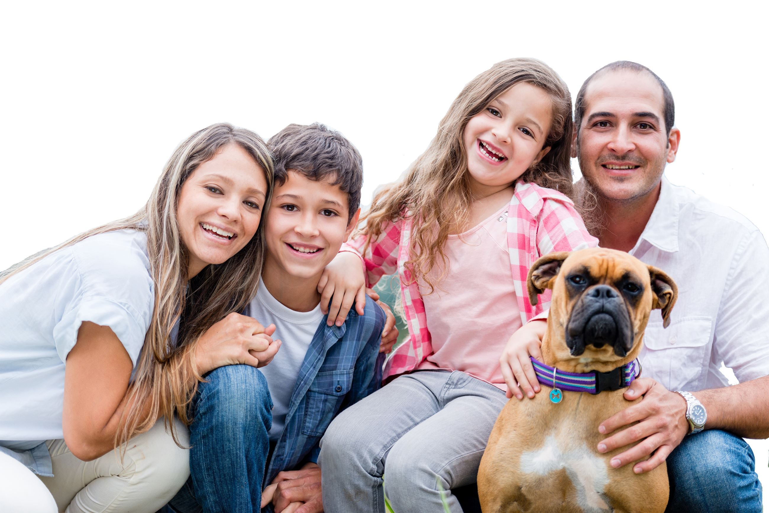 young family with brown dog
