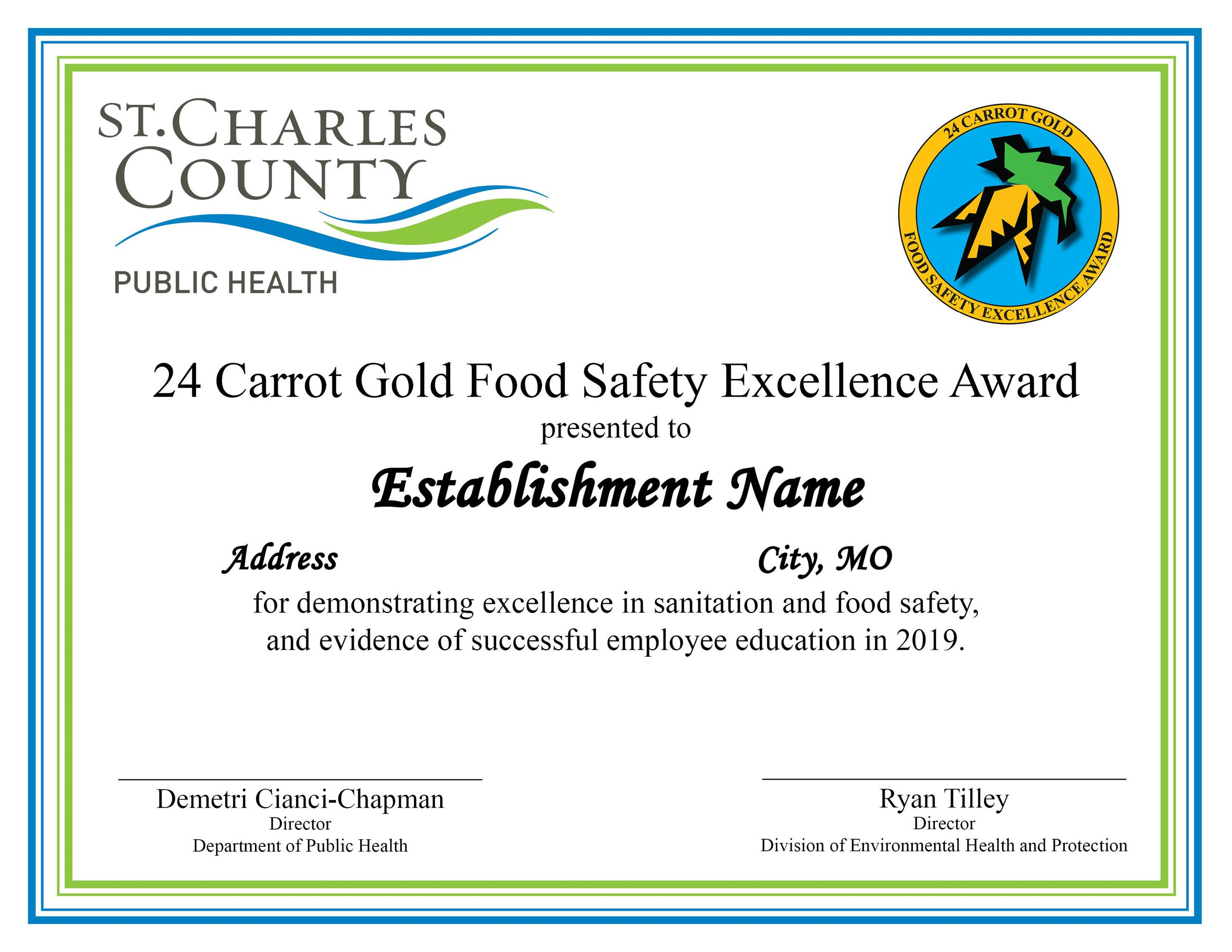24 Carrot Gold Food Safety Certificate 2019