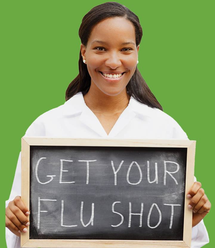 "Woman holding chalkboard sign that reads: ""Get Your Flu Shot"""