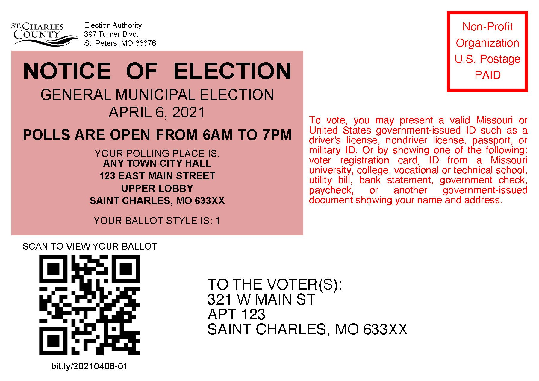 Notice of Election Postcard April 2021