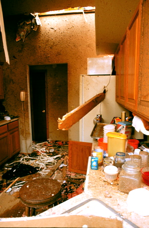 Damage to a kitchen after a storm