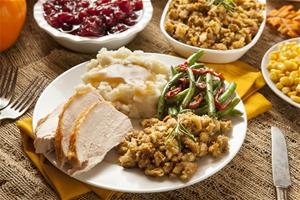 Photo of a plate of Thanksgiving meal - turkey, potatoes, stuffing and more