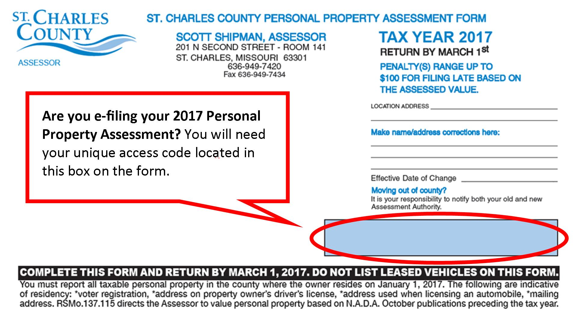 2017 Personal Property Assessment Form
