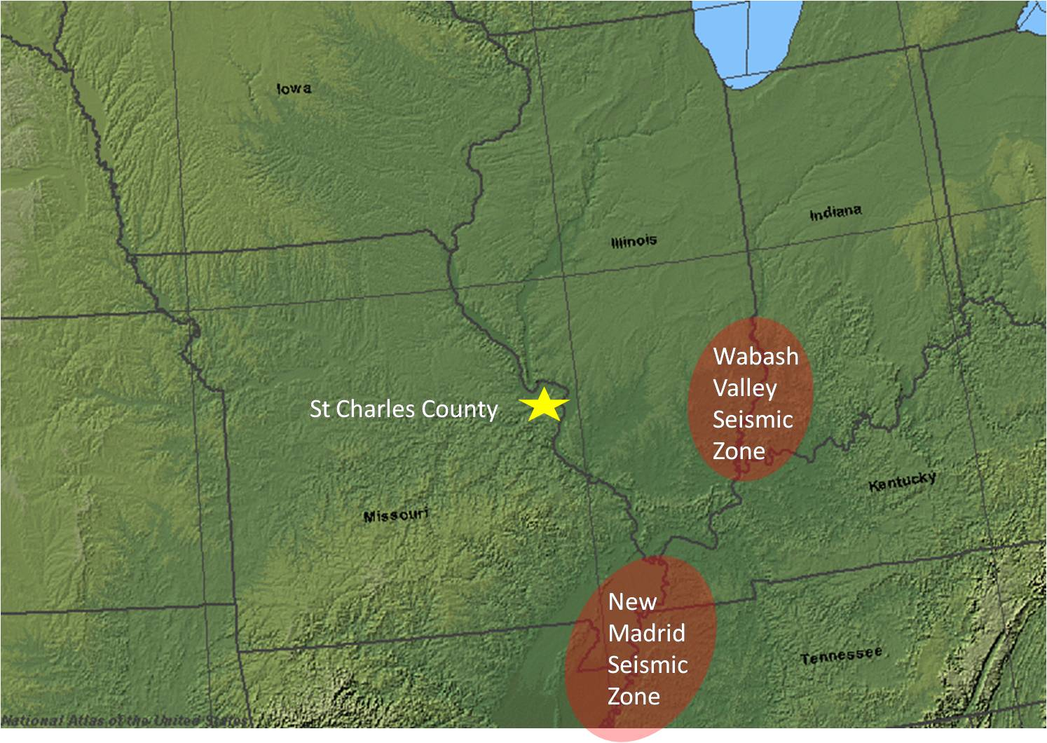 Earthquake st charles county mo official website map with locations of seismic zones gumiabroncs Choice Image