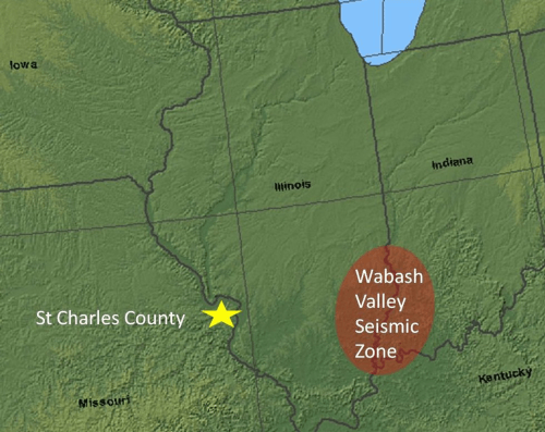 Wabash Valley Seismic Zone map; courtesy of the U.S. Geological Survey