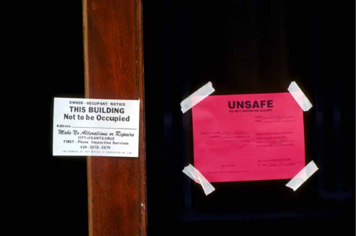 Unsafe housing notice; Photo from the U.S. Geological Survey Photo Library